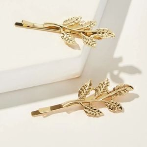 Leaf hair clips new gold